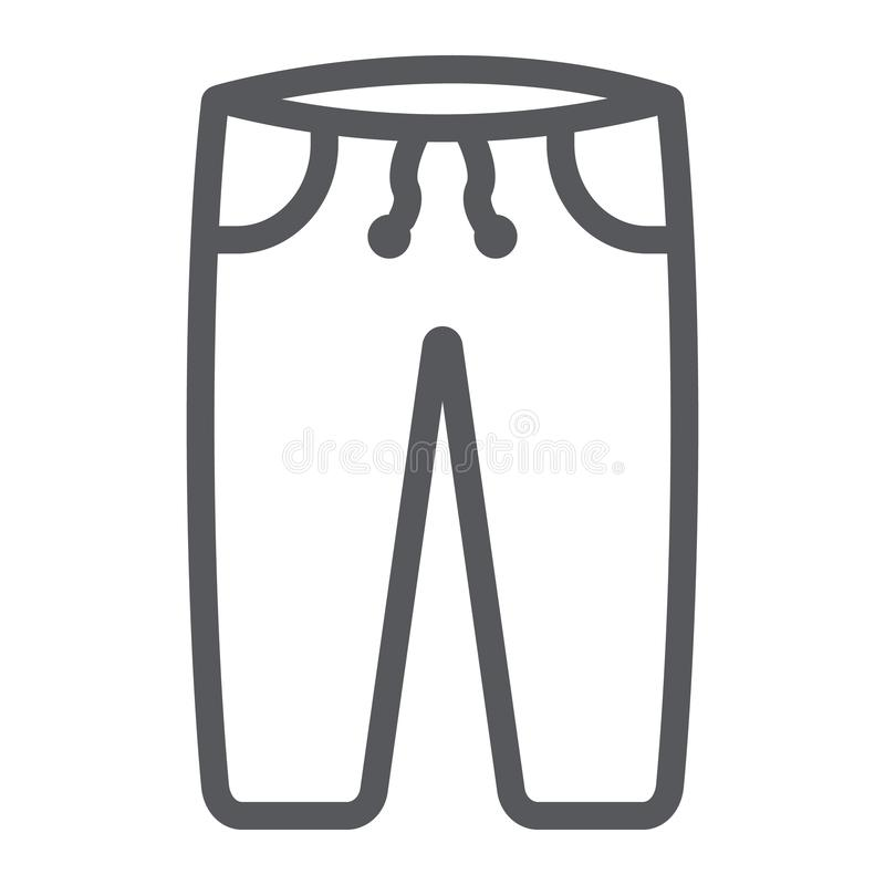Sweatpants line icon, clothes and sport, pants sign, vector graphics, a linear pattern on a white background. vector illustration
