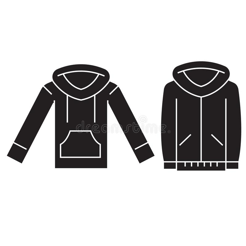Sweatshirt hoodie black vector concept icon. Sweatshirt hoodie flat illustration, sign vector illustration