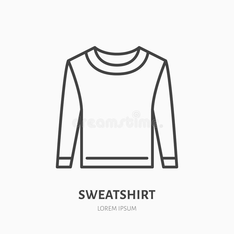 Sweatshirt, sweater flat line icon. Casual apparel store sign. Thin linear logo for clothing shop.  stock illustration