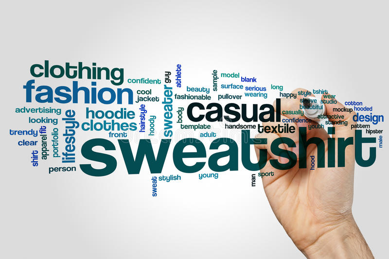 Sweatshirt word cloud. Concept on grey background stock photo
