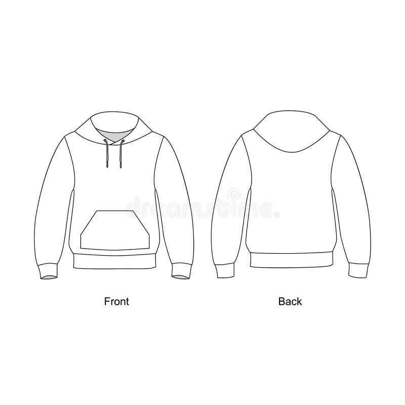 Sweatshirtverstand een kap en zak technische schetsvector Hoodie vectorillustratie vector illustratie