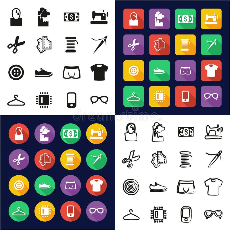 Sweatshop Factory All in One Icons Black & White Color Flat Design Freehand Set vector illustration