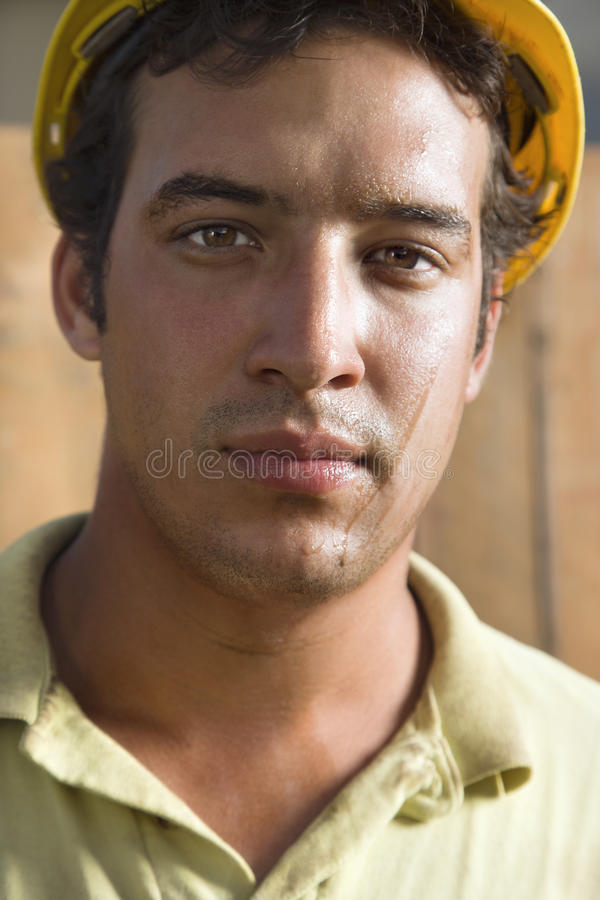 Download Sweaty Construction Worker stock photo. Image of male - 12738568