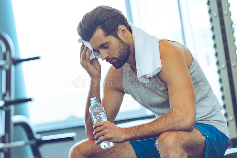 Sweaty after great work out. stock photography