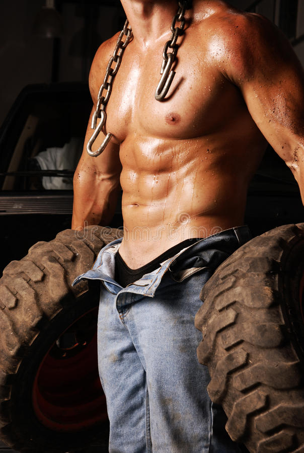 Sweaty Mechanic royalty free stock photography