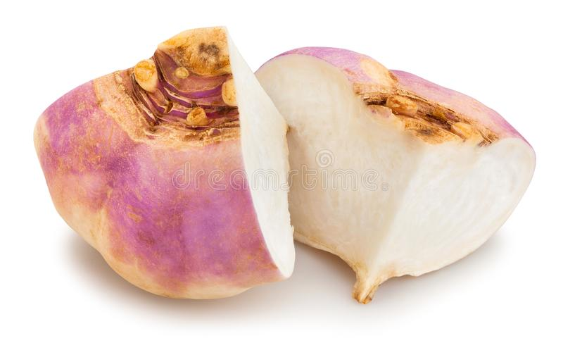 Swede turnip. Sliced swede turnip path isolated on white royalty free stock photography