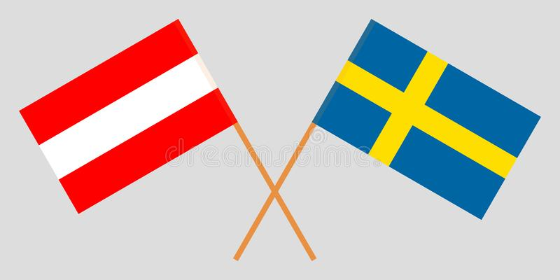Sweden and Austria. Crossed Swedish and Austrian flags. Official colors. Correct proportion. Vector illustrationn royalty free illustration