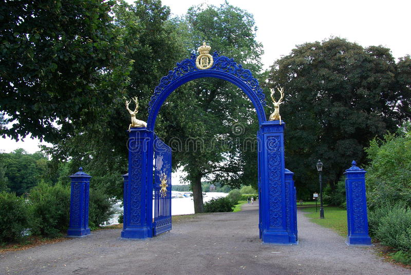 Sweden, Blue Gate stock photography
