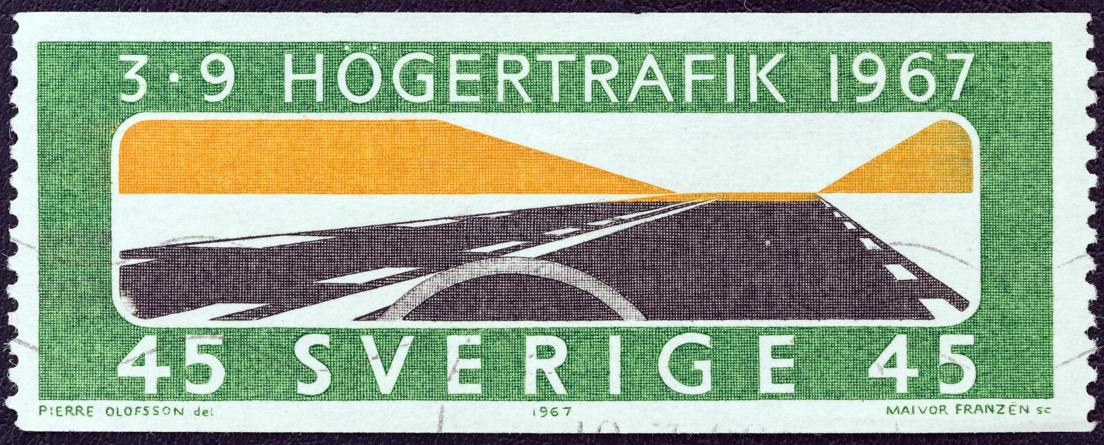 SWEDEN - CIRCA 1967: A stamp printed in Sweden shows `Keep to the Right`, circa 1967. SWEDEN - CIRCA 1967: A stamp printed in Sweden issued for the adoption of royalty free stock images