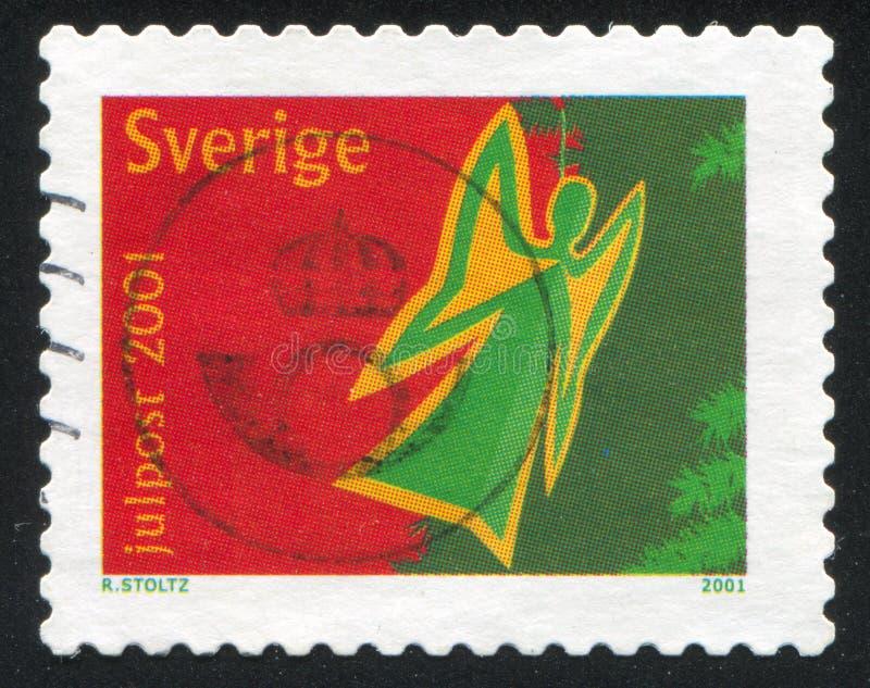 Angel as christmas tree ornament. SWEDEN - CIRCA 2001: stamp printed by Sweden, shows Angel as christmas tree ornament, circa 2001 stock photography