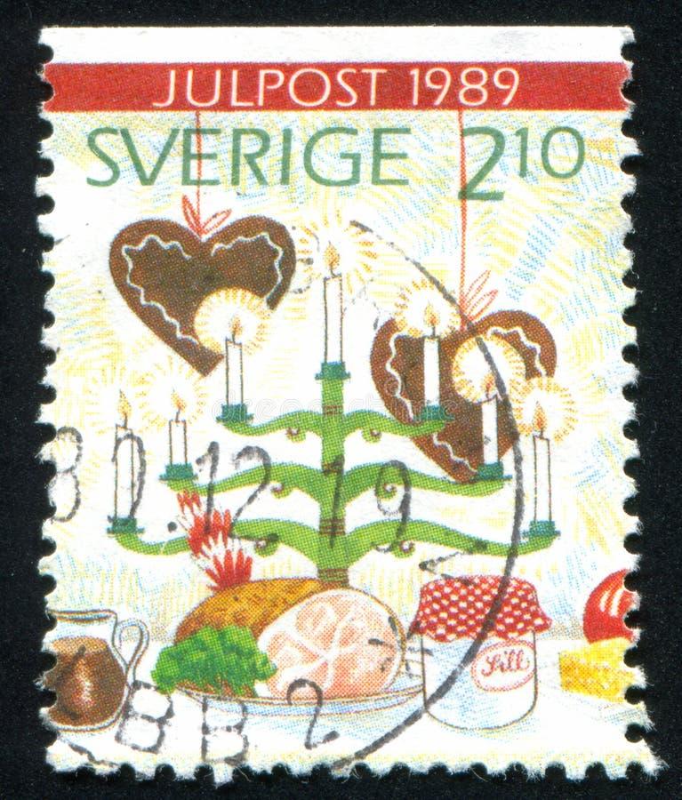 Candelabrum. SWEDEN - CIRCA 1989: stamp printed by Sweden, shows Candelabrum, foods, circa 1989 stock image