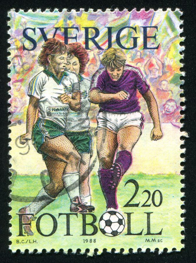 Football. SWEDEN - CIRCA 1988: stamp printed by Sweden, shows Football, circa 1988 stock photography