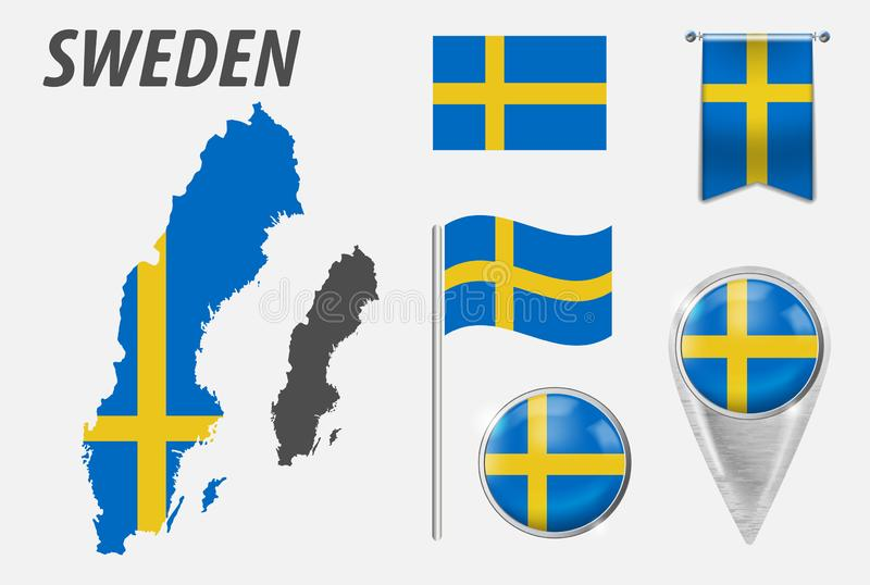 SWEDEN. Collection of symbols in colors national flag on various objects isolated on white background. Flag, pointer, button, stock illustration