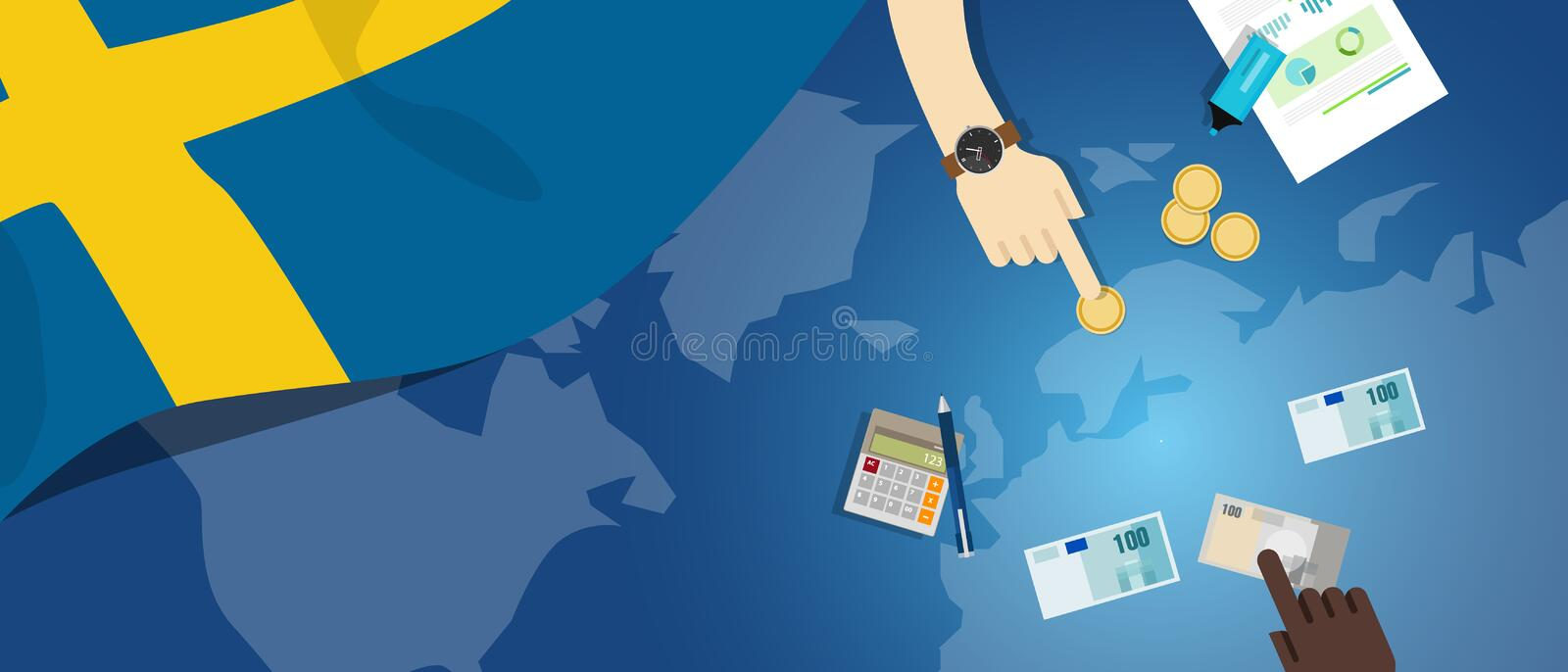 Sweden fiscal money trade concept illustration of financial banking budget with flag map and currency. Sweden economy fiscal money trade concept illustration of stock illustration