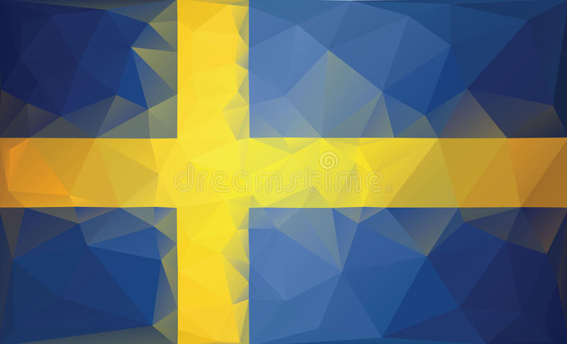 Sweden flag background. Low poly style royalty free stock photo