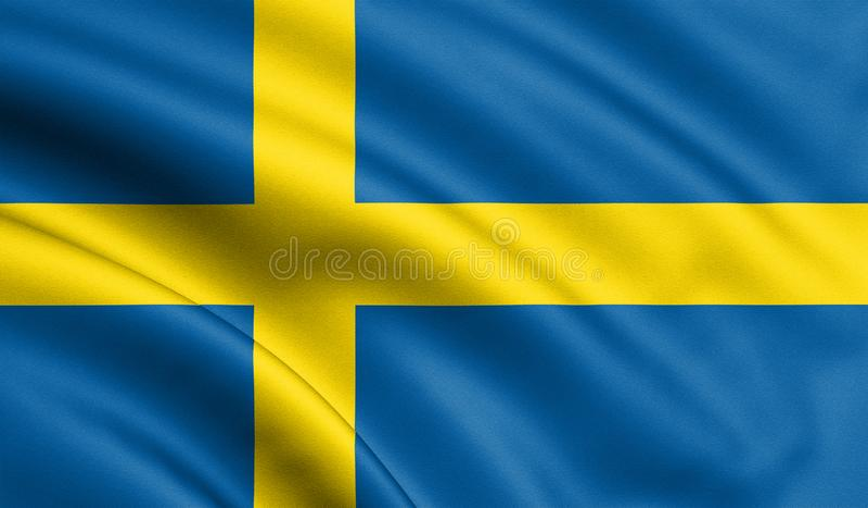 Sweden flag blowing in the wind. Background texture. 3d rendering, wave. UEFA Euro 2020. Football. 3d illustration vector illustration