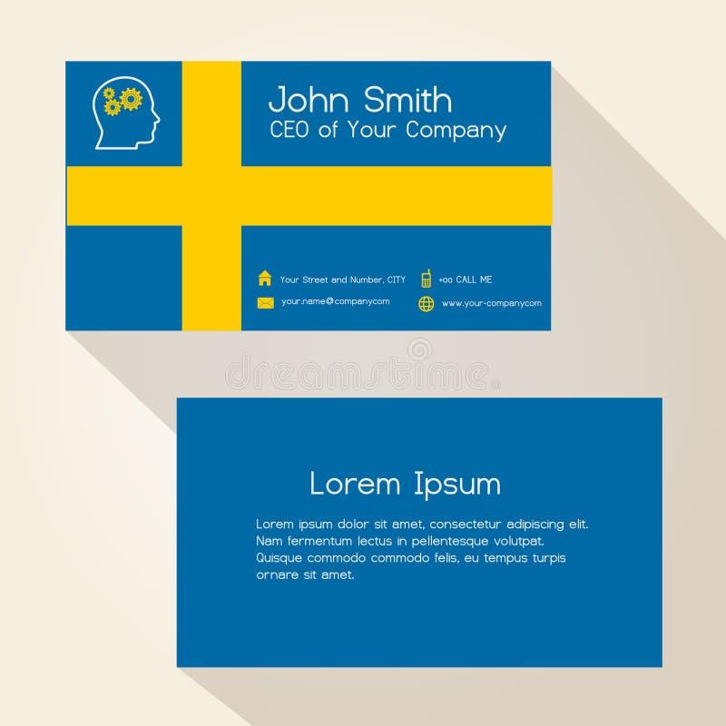 Sweden Flag Color Business Card Design Stock Vector - Illustration ...