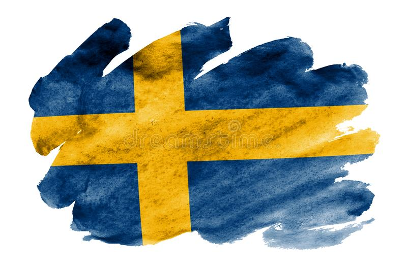 Sweden flag is depicted in liquid watercolor style isolated on white background stock illustration