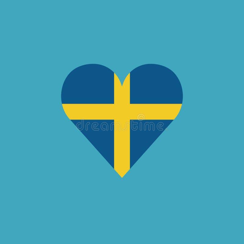 Sweden flag icon in a heart shape in flat design vector illustration