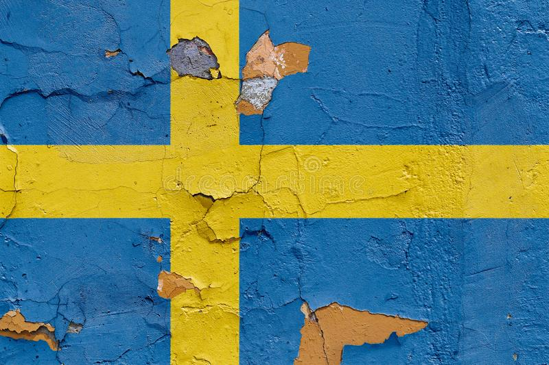 Sweden Flag Painted On A Weathered Concrete Wall Stock Photo - Image ...