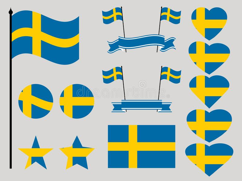 Sweden flag set. Collection of symbols heart and circle. Vector stock illustration