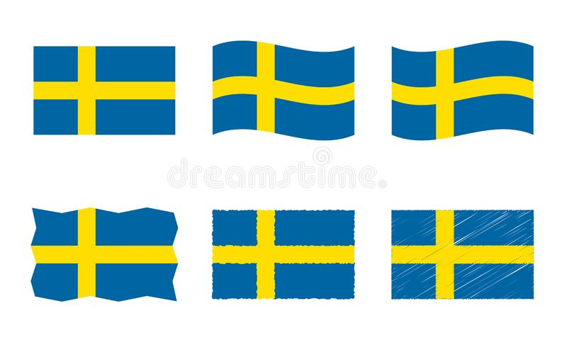 Sweden flag vector illustration set, official colors of Kingdom of Sweden flag royalty free illustration