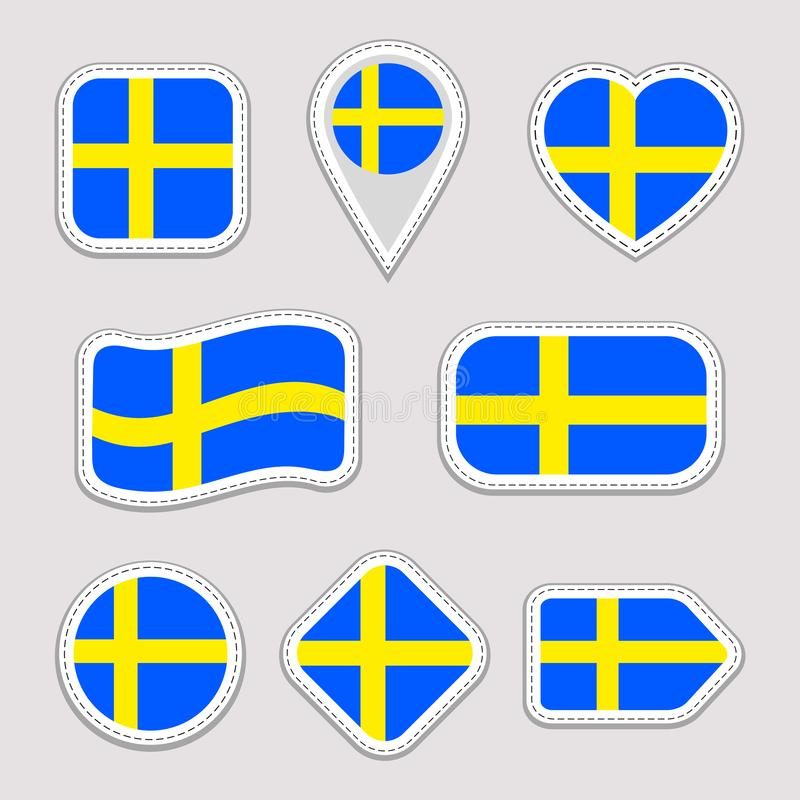 Sweden flag vector set. Swedish national flags stickers collection. Isolated icons. Traditional colors. Illustration. Web, sports stock illustration
