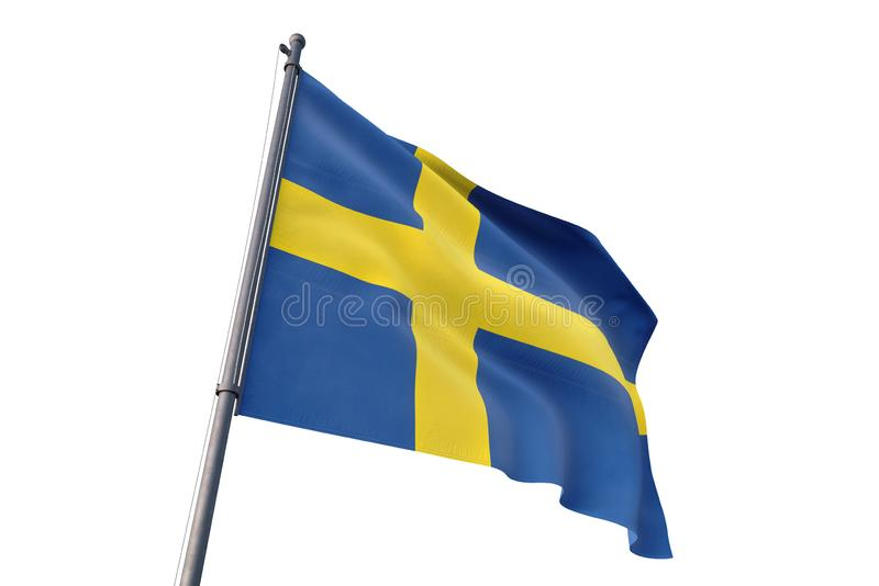 Sweden flag waving isolated white background 3D illustration vector illustration