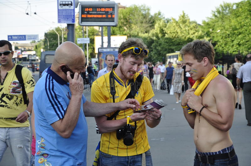 Sweden flookin path to the stadium. Crowd of Sweden fans rooting for their team stock photos