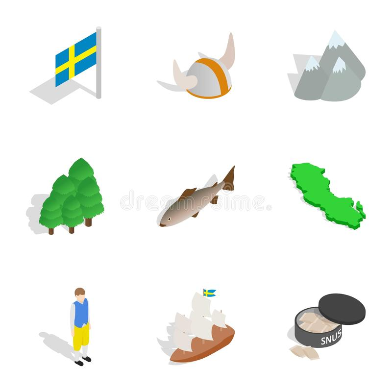 Sweden icons set, isometric 3d style. Sweden icons set. Isometric 3d illustration of 9 Sweden vector icons for web vector illustration
