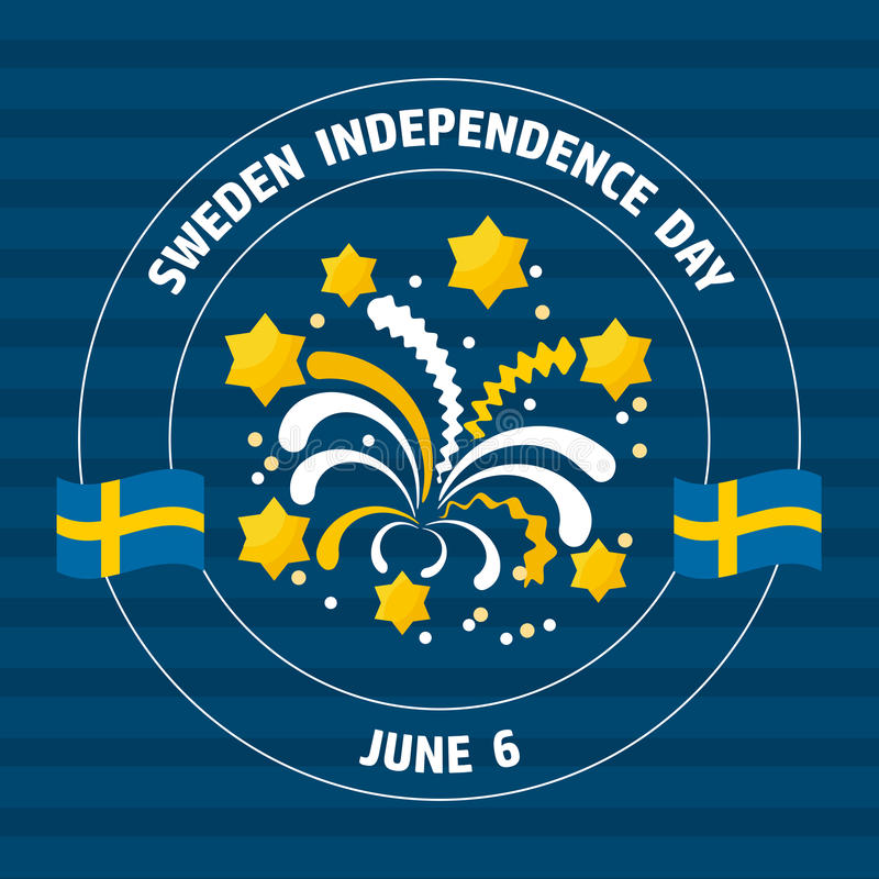 Sweden Independence Day label on blue. Vector illustration. royalty free illustration