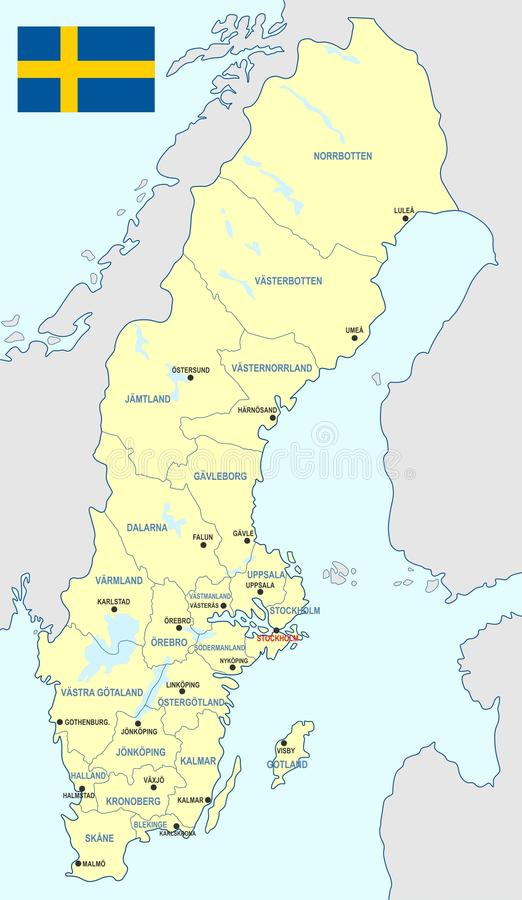 Sweden map - cdr format. Sweden map with counties main cities and flag royalty free illustration