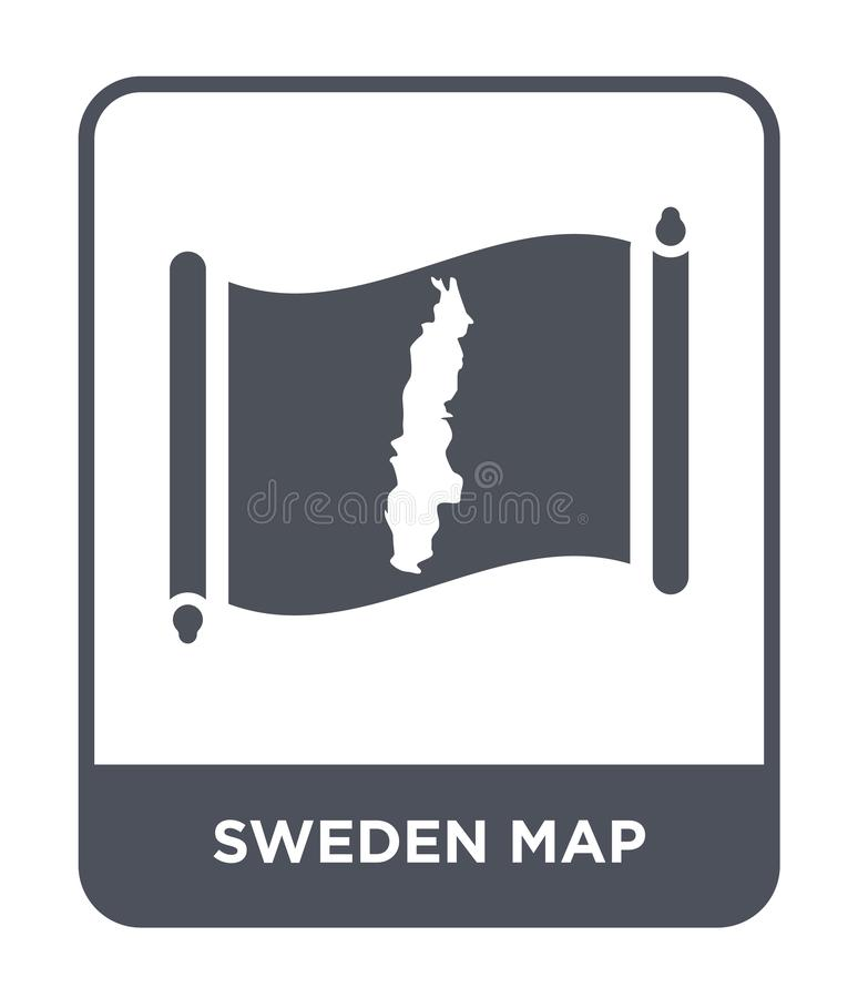 Sweden map icon in trendy design style. sweden map icon isolated on white background. sweden map vector icon simple and modern. Flat symbol for web site, mobile stock illustration