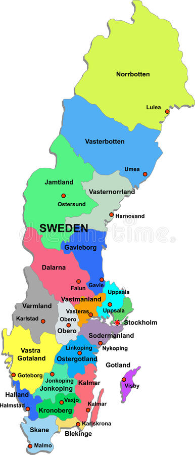 Free Sweden Map On A White Background Royalty Free Stock Photography - 13012747