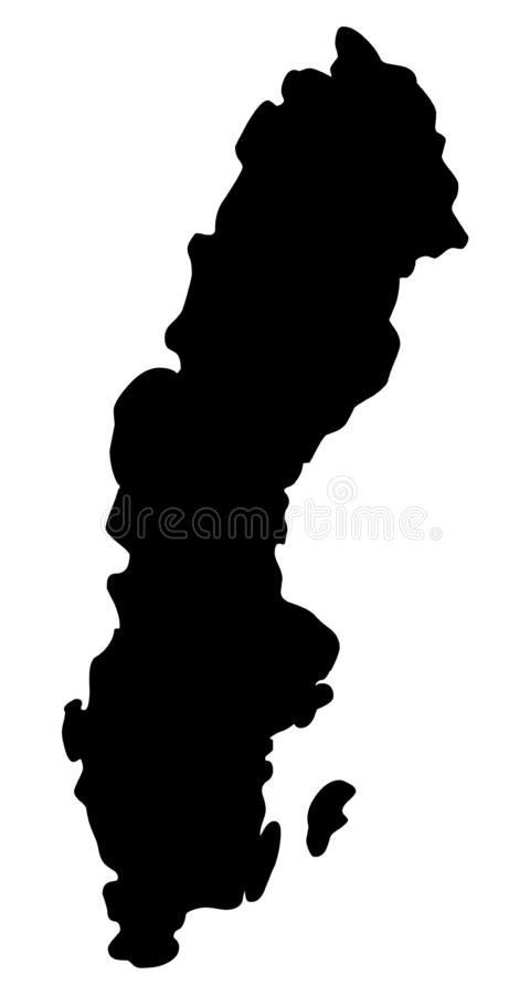 Sweden map silhouette vector illustration. Isolated on white background royalty free illustration