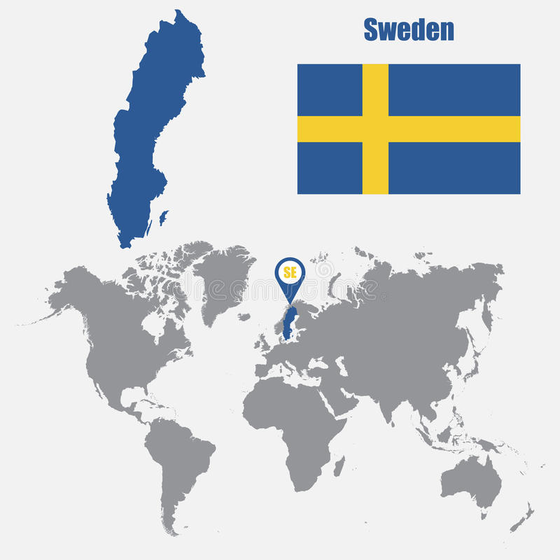 Sweden map on a world map with flag and map pointer vector download sweden map on a world map with flag and map pointer vector illustration stock sciox Choice Image