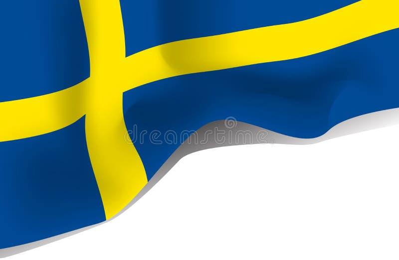 Sweden national waving flag isolated on white background stock illustration