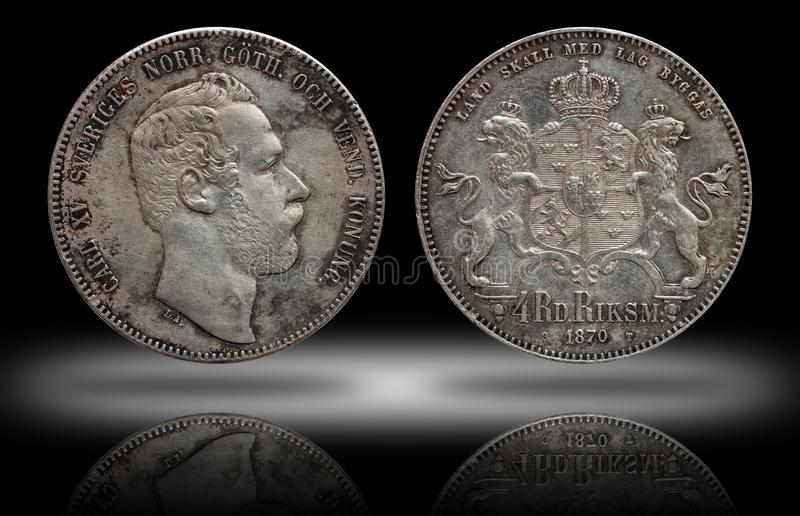 Sweden Norway silver coin four 4 thaler rigsdaler minted 1870 Carl XV stock images