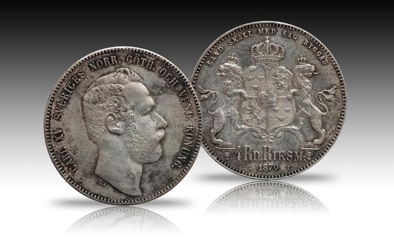 Sweden Norway silver coin four 4 thaler rigsdaler minted 1870 Carl XV isolated on gradient background royalty free stock photo