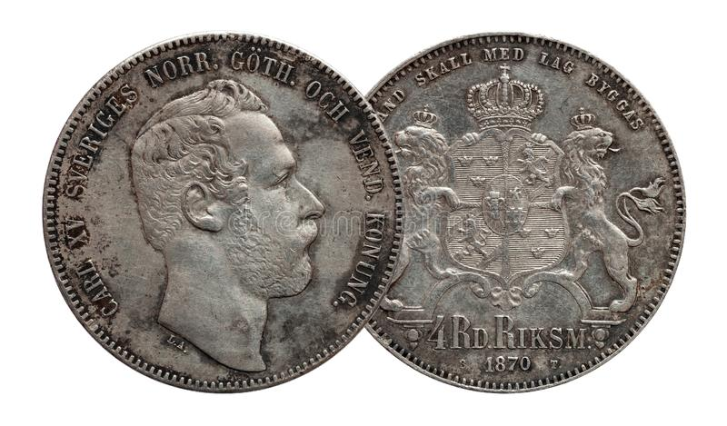 Sweden Norway silver coin four 4 thaler rigsdaler minted 1870 Carl XV isolated on white background stock photos