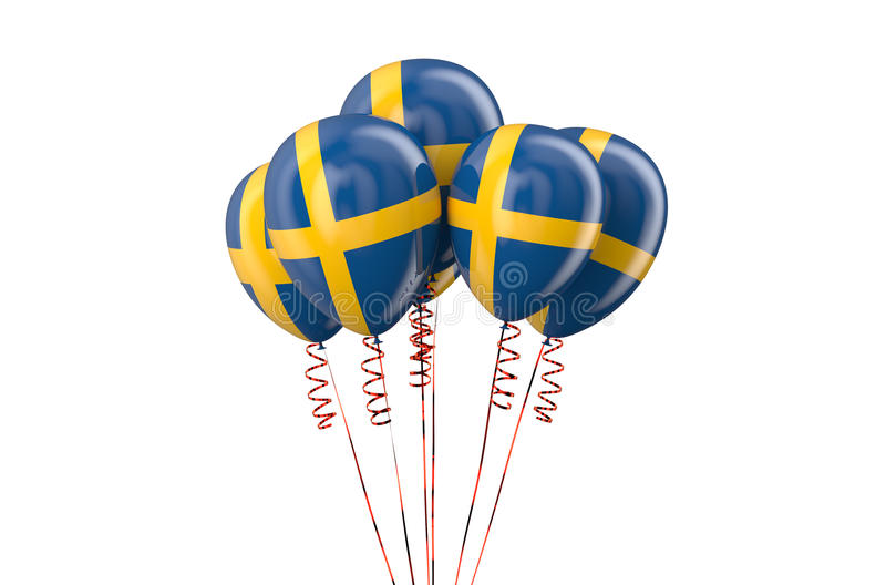 Sweden patriotic balloons, holyday concept. Isolated on white background royalty free illustration