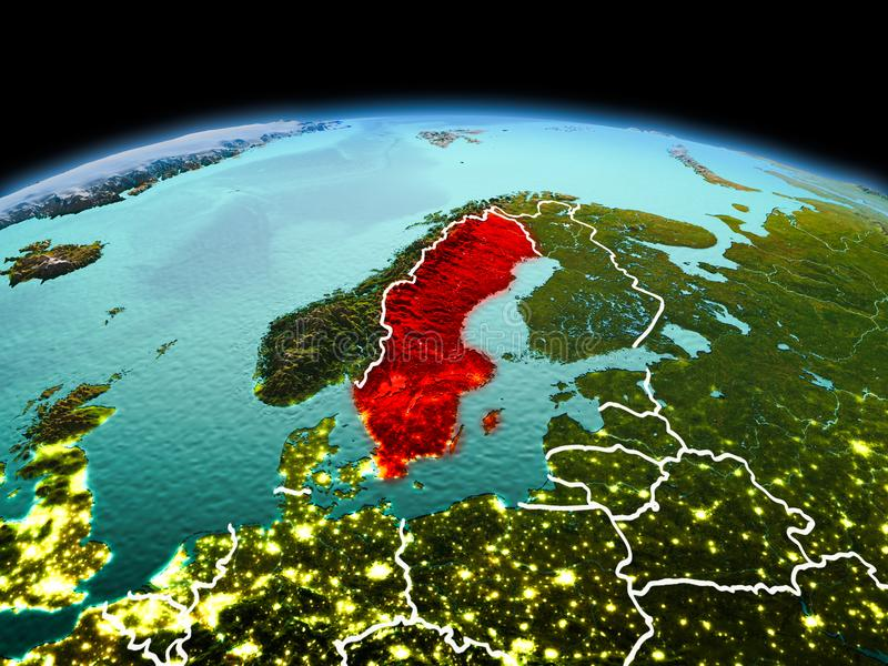 Sweden on planet Earth in space. Morning above Sweden highlighted in red on model of planet Earth in space with visible border lines and city lights. 3D stock photo