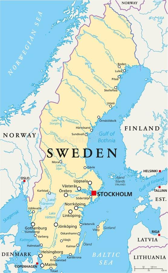 Sweden Political Map Stock Vector Image - Sweden road map download