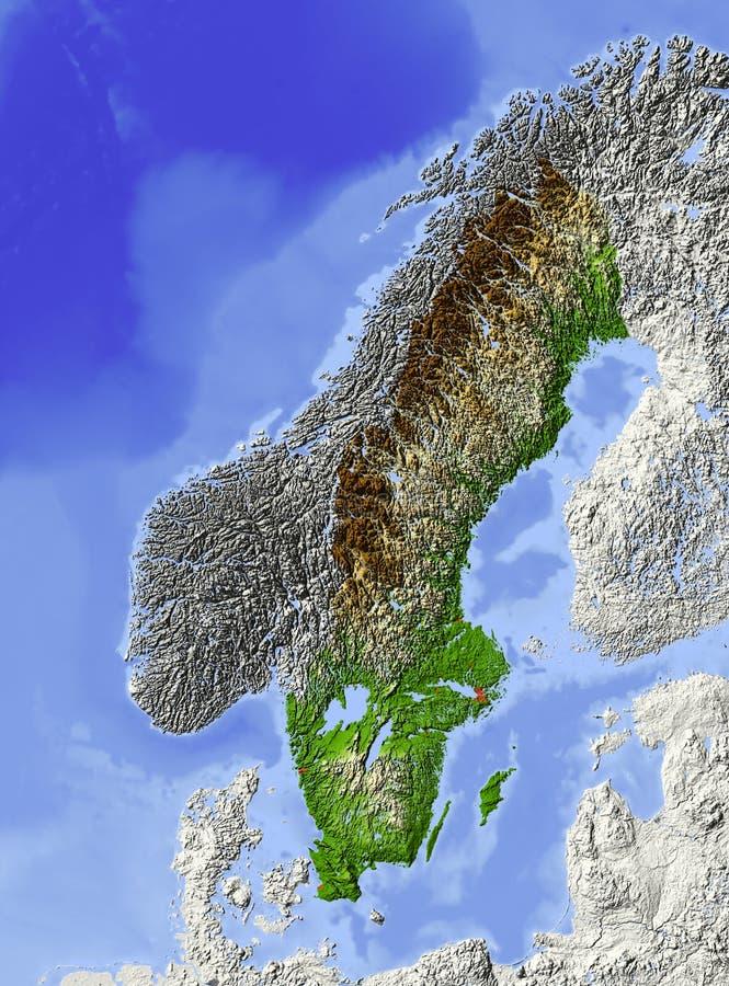Sweden, relief map stock illustration