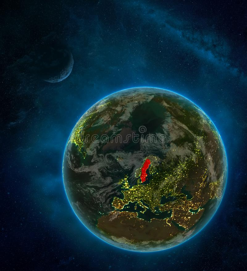 Sweden from space on Earth at night surrounded by space with Moon and Milky Way. Detailed planet with city lights and clouds. 3D. Illustration. Elements of this royalty free illustration