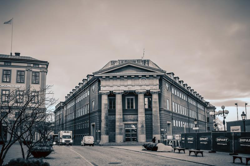 SWEDEN, STOCKHOLM – JANUARY 05, 2015: Old Town - the old building, Kanslihuset Chancellery royalty free stock image