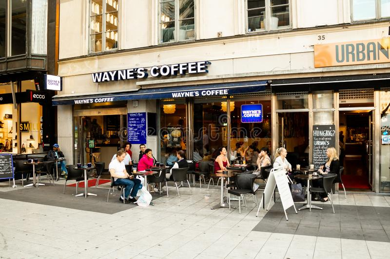 People in Wayne`s Coffee, Stockholm, Sweden stock photos