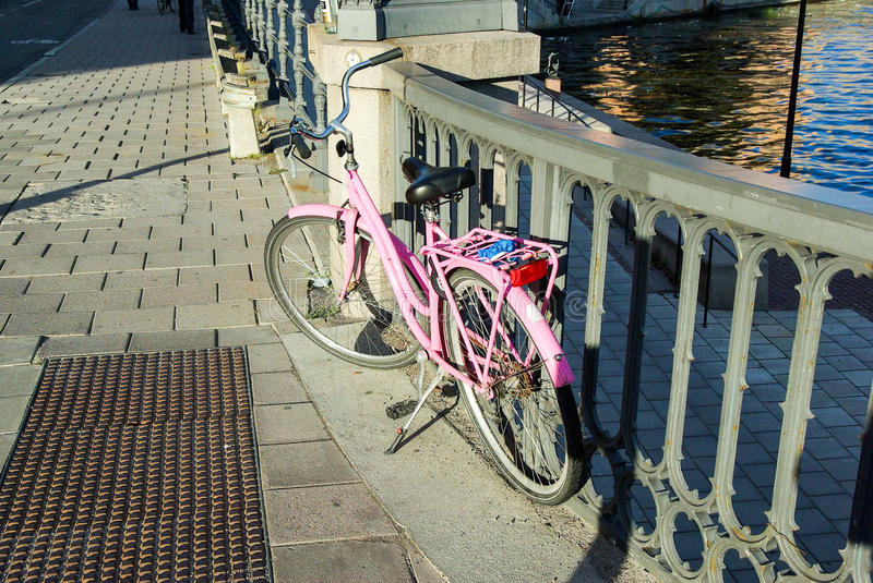 Sweden, Stockholm rose retro-bycicle royalty free stock images