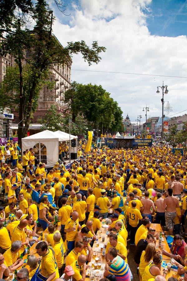 Sweden and Ukrainian fans arrived royalty free stock image
