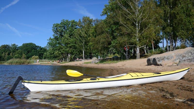 Swedish adventure in kayak royalty free stock photos